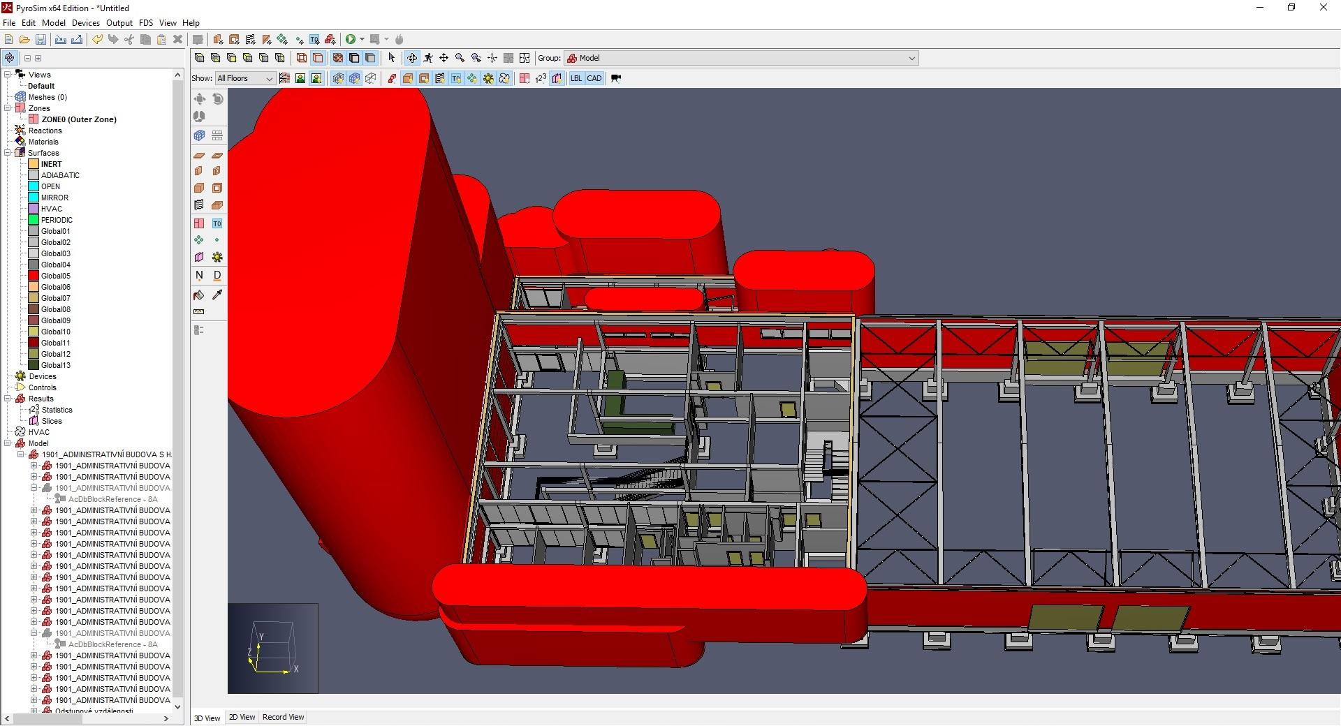 Importovaná geometrie z požárního BIM modelu (PyroSim)